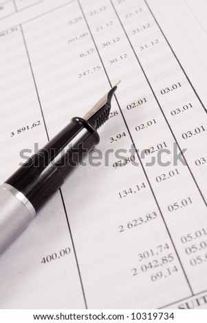 Checking spreadsheet - stock photo