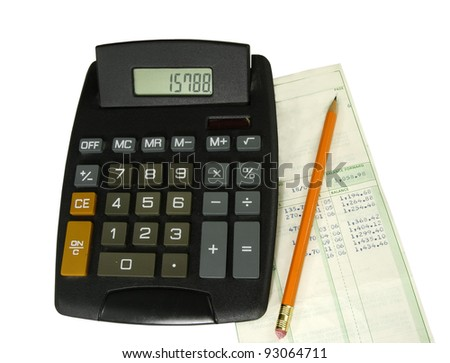 checking the bank statement- calculator and pencil on a white background - stock photo