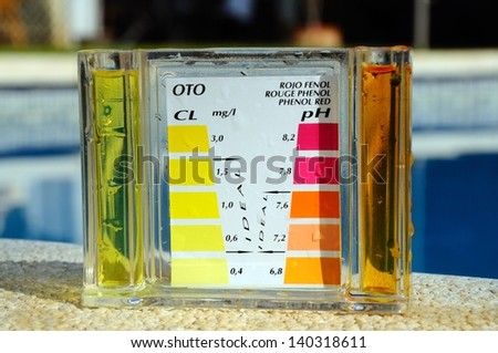 Checking the chemical balance of a swimming pool, Costa del Sol, Andalucia, Spain, Western Europe. - stock photo