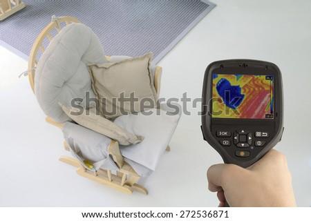 Checking Underfloor Heating with Infrared Camera - stock photo