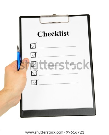 Checklist and Clipboard isolated on white background - stock photo
