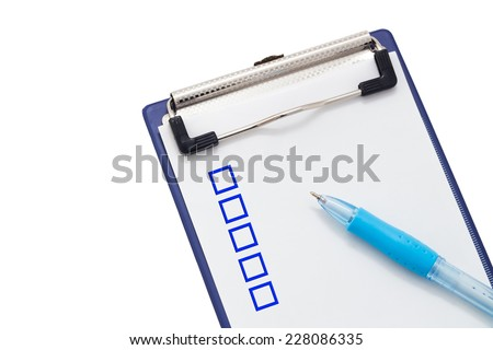 Checklist and Clipboard on white background - stock photo