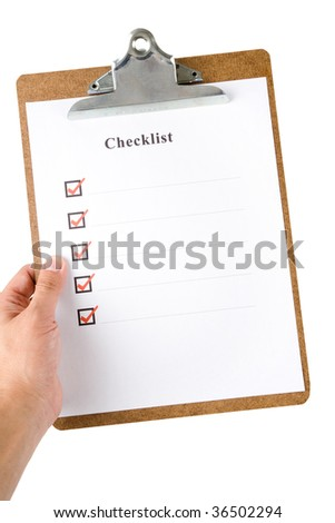 Checklist and Clipboard with white background - stock photo