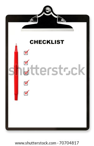 Checklist and red pen on clipboard, with boxes ticked.  Lots of copyspace. - stock photo
