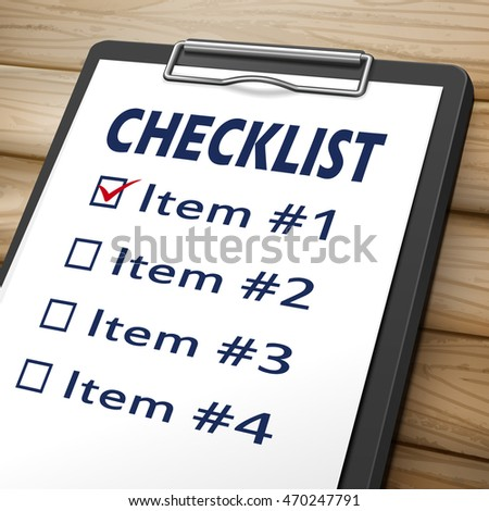 checklist clipboard 3D image with check boxes marked for item one, two, three and four