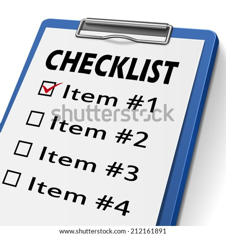 checklist clipboard with check boxes marked for item one, two, three and four - stock photo