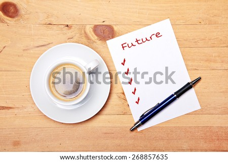checklist - coffee - office - at work - stock photo