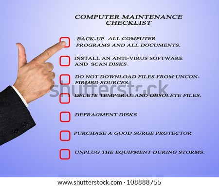 Checklist for computer maintenance