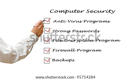 Checklist for computer security - stock photo