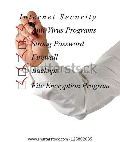 Checklist for internet  security - stock photo