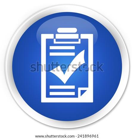 Checklist icon blue glossy round button - stock photo