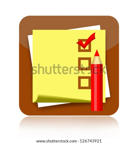Checklist icon with sticky note paper and red pencil - stock photo
