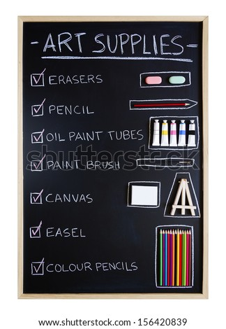 Checklist of art supplies over blackboard background