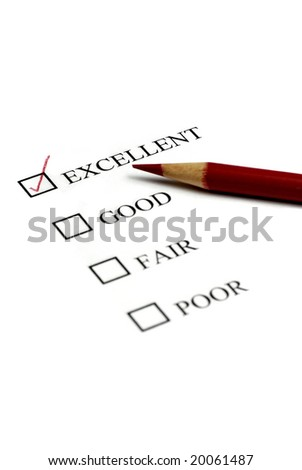 Checklist of Options from Excellent to Poor - stock photo