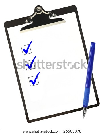 Checklist on clipboard, with blue ticks and ballpoint pen.