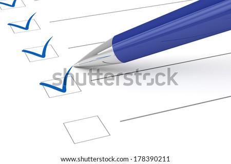 Checklist paper and pen.  - stock photo