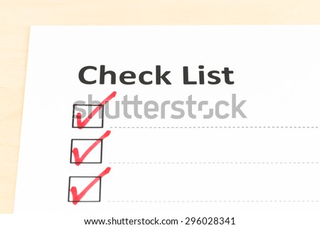 Checklist paper with tick mark with copy space - stock photo