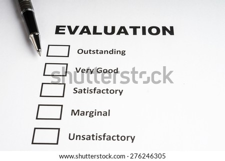 Checklist performance evaluation with black pen