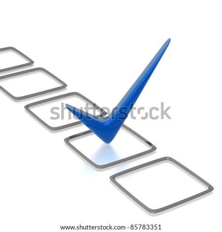 Checklist with blue check isolated on white - stock photo