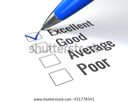 Checklist with excellent word checked. Excellent evaluation, quality control and customer service concept.Pen checked Excellent with blue check mark. 3d render - stock photo