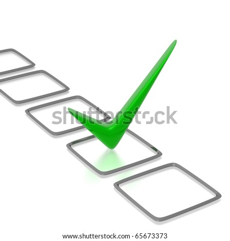 Checklist with green check isolated on white - stock photo