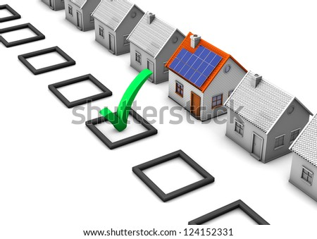 Checklist with green tick and houses on the white background. - stock photo