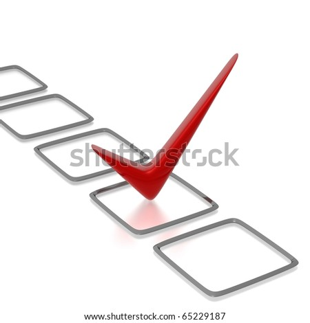 Checklist with red check isolated on white - stock photo