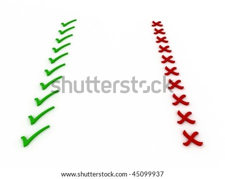 Checkmark and X (Right/Wrong, Yes/No, Check/Cross). 3D - stock photo