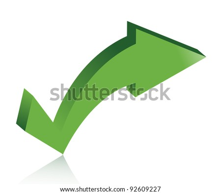 checkmark arrow illustration design over white - stock photo