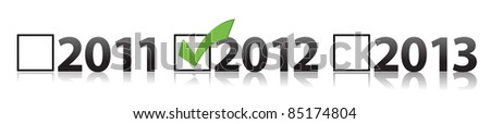 checkmark selecting 2012 illustration design - stock photo