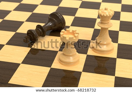 Checkmate on wooden chess board with wooden pieces