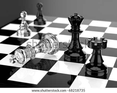 Checkmate with black and white board and glass pieces - stock photo