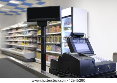 Checkout counter. - stock photo