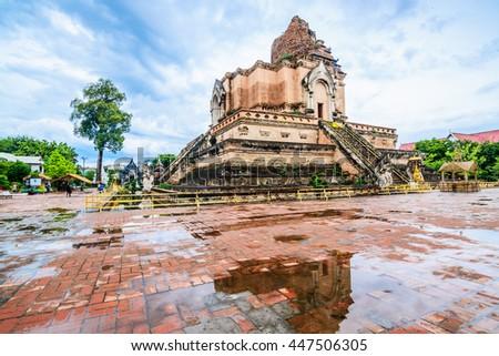 Chedi Luang Pagoda, Wat Chedi Luang Temple with water reflection - Chiang mai, Thailand - stock photo