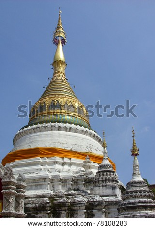 Chedi of Wat Bupparam, Buddhist temple in Chiangmai, Thailand