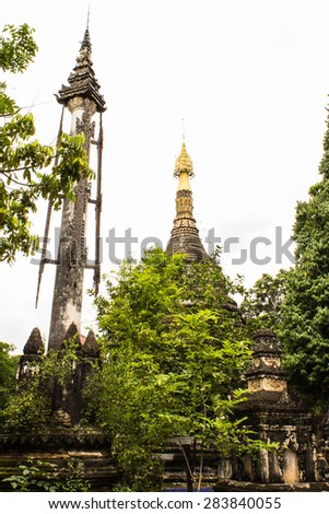 Chedi Shan style in Wat Papoa , Chiangmai Thailand - stock photo
