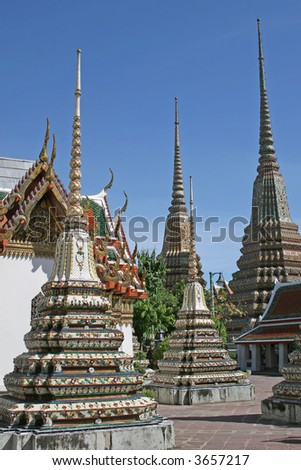 Chedis in the grounds of the Grand Palace in Bangkok