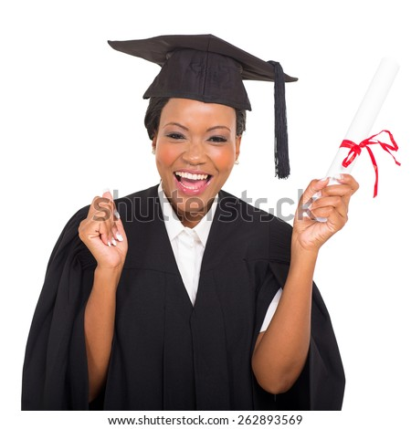 cheerful african american graduate student with diploma in her hand - stock photo