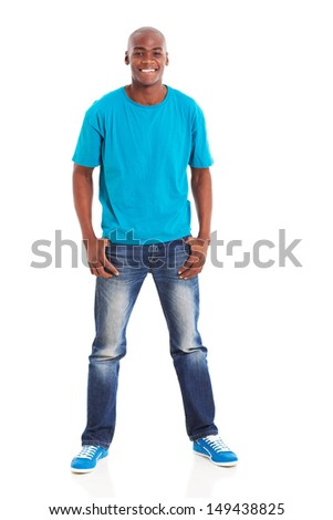 cheerful african american man standing over white background - stock photo