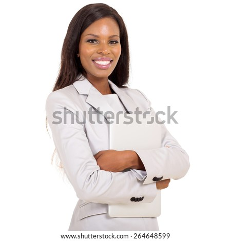 cheerful african business woman with laptop computer - stock photo