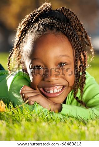 Cheerful Afro Child - stock photo