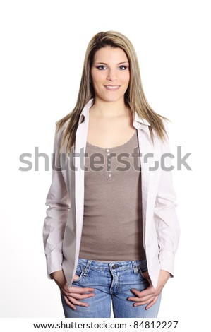 cheerful and beautiful woman with casual clother - stock photo