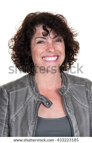 Cheerful and smiling caucasian lady posing in casuals isolated on white background. - stock photo