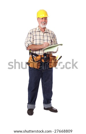 Cheerful and upbeat older construction worker writing out an estimate - stock photo