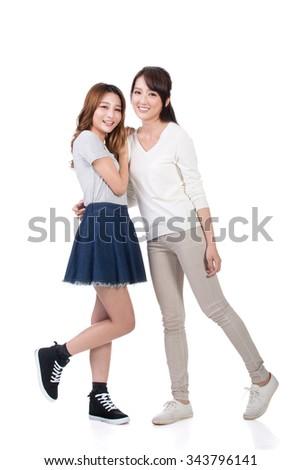 Cheerful Asian women, full length portrait. - stock photo