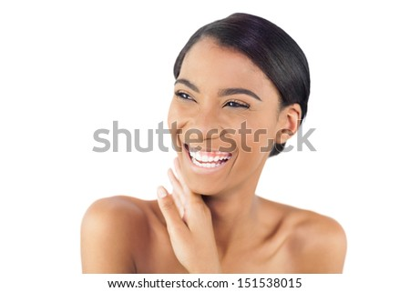 Cheerful attractive model posing on white background - stock photo