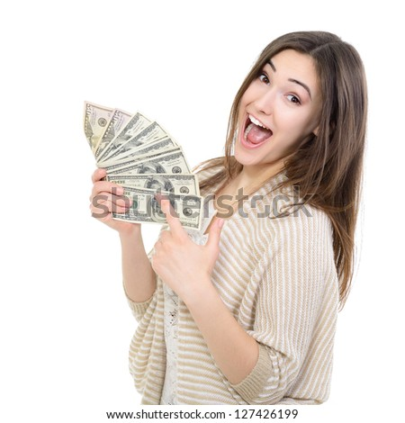 Cheerful attractive young lady holding cash and happy smiling over white background - stock photo