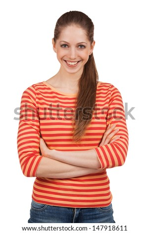 Cheerful beautiful girl in a striped T-shirt