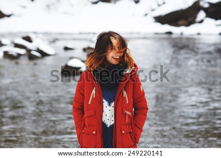 Cheerful, beautiful girl in the park. Outdoor. - stock photo