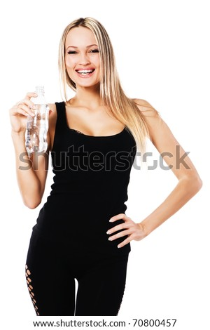 Cheerful beautiful woman with a bottle of fresh water, white background